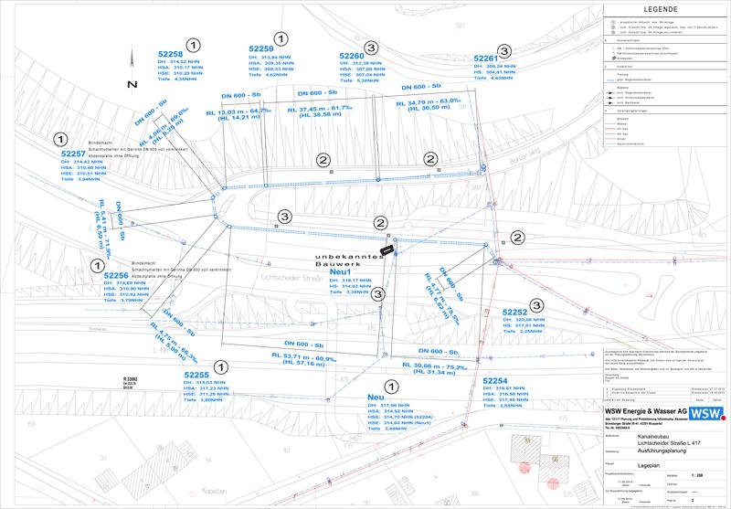 Plan der Kanalverlegung. Freundlicherweise zur Verfügung gestellt von der WSW.