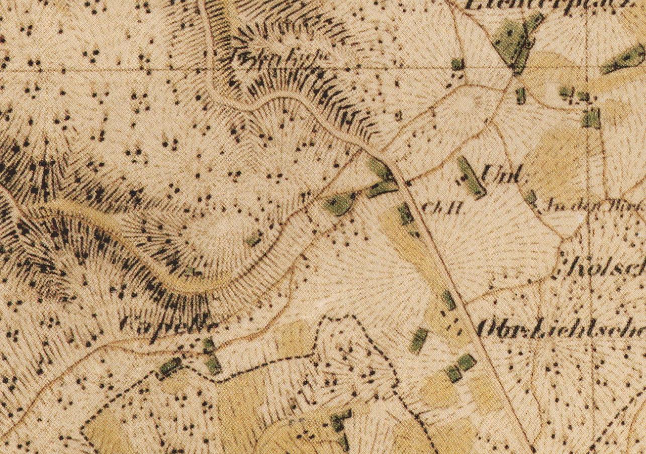 Ausschnitt aus der Topographischen Aufnahme der Rheinlande des Militärgeographen Müffling aus dem Jahr 1824