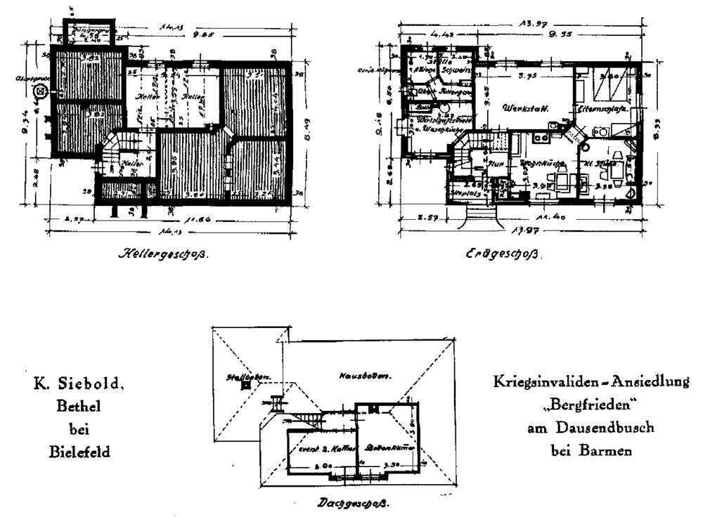 Mustergrundriss nach Siebold. Quelle: WMB Siebold 1920/21 S.263ff